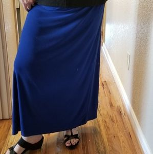 Come N See Skirts - Women's Plus Size Long Blue Skirt